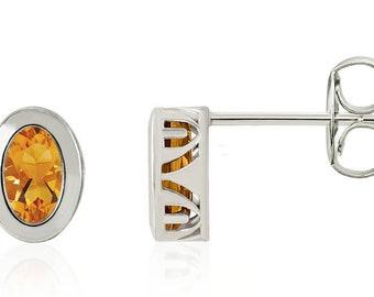 14K White/Yellow Gold  Bezel Set Natural Citrine Filigree Stud Earrings,Oval Gemstone Stud Earrings, January Birthstone