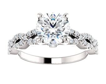 1.50 ct Forever One (GHI)  Moissanite Round 7.5mm 14K White Gold Engagement Ring  - ST234667 (Center stone options available)
