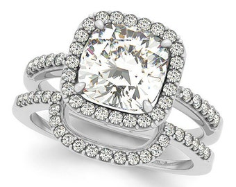 1.30ct 6.5mm  Cushion Cut Forever One (GHI) Moissanite Solid 14K White Gold  Halo  Engagement  Ring Set  - OV94614