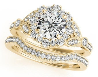 1ct 6.5mm Forever One (GHI) Moissanite  Solid 14k Yellow gold Antique Style diamond Engagement Ring Set- Ov61979