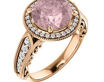 Natural AAA 9mm Round Morganite  Solid 14K Rose  Gold Diamond Vintage style halo Engagement Ring Set Bridal Ring Set -ST233975