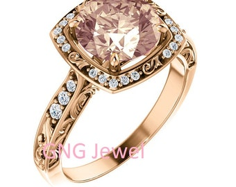 Natural AAA 8mm  Round Morganite  Solid 14K White Gold Sculptural-Inspired  Diamond  Engagement Ring Set-ST232092-1226