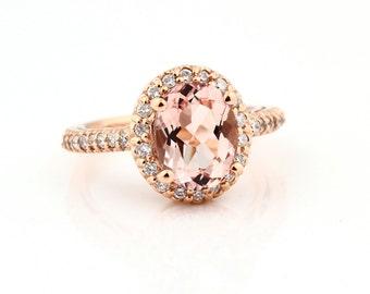 Natural Morganite Solid 14K Rose Gold Diamond engagement  Halo Ring-antique Style - Gem748