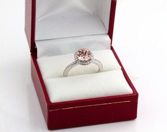 1.10 ct 7mm Natural Round Morganite  Solid 14K White Gold Diamond Engagement Halo  Ring-Gem828