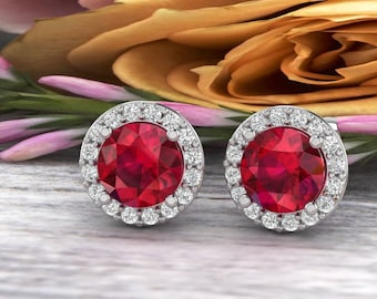 Natural Diamond & lab Created Ruby Halo Stud Earrings In 14K White/Yellow G166