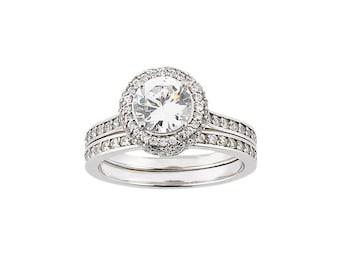 1ct Forever One Moissanite (Near-Colorless) Moissanite Solid 14K White Gold Diamond Halo Engagement  Ring set  - ENS2783-1054
