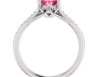 Natural AAA 9x7mm Oval  Pink Tourmaline Solid 14K white Gold Diamond Engagement Ring Set-ST82823