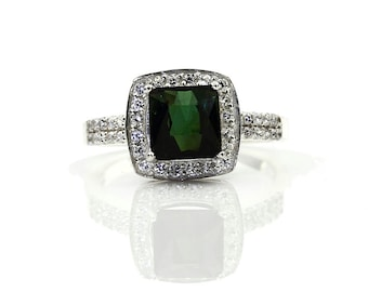 Natural Green tourmaline Solid 14K white Gold Diamond engagement halo Ring - special