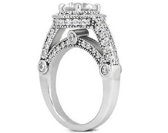 1/2 carat 5mm Round Forever One (GHI) Moissanite Vintage Halo Diamond Engagement Ring  ENR7450