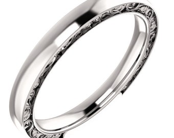 Sculptural-Style Pattern Wedding Band in 14k White Gold ST62549-1307