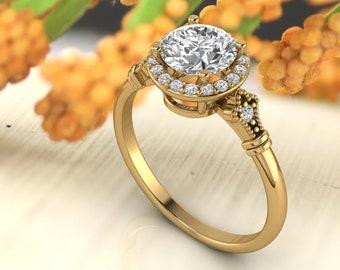 Solid 14K Gold 1.25 Ct Round  Moissanite (DEF) Artdeco  vintage Style  Engagement Ring Set,Diamond Ring,Moissanite wedding ring Gift For Her