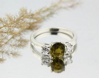 Gorgeours IF  Natural Greenish Yellow  Tourmaline Solid 14K White Gold Diamond Ring