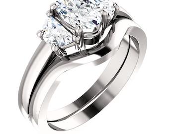 1.15ct Forever One (GHI) Moissanite Solid 14K White Gold   Engagement  Ring Set - ST233215