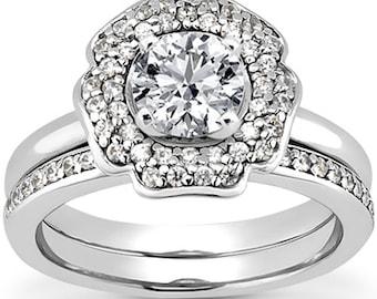 1 carat 6.5mm Round Forever One (GHI) Moissanite   Petal  Halo  Diamond Engagement Ring Set, Bridal Set ENS4206