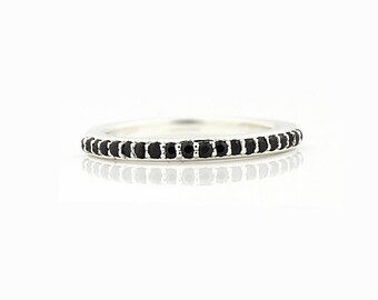 AAA Natural  Black Diamond 14k White Gold Wedding Band Ring Gem737