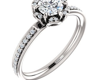 1/2ct 5mm  Forever One (GHI) Moissanite Solid 14K White Gold  Halo-Styled  Engagement  Ring   -ST232008