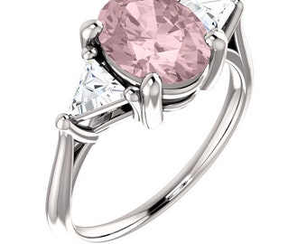 Natural AAA 9x7mm Oval  Morganite  Solid 14K White Gold 3 Stone Moissanite Engagement Ring Set-ST233220