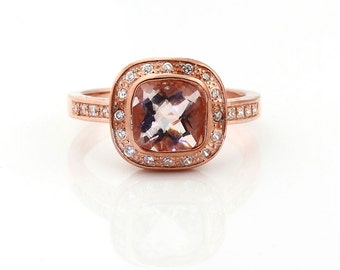 Natural Cushion (checkerboard cut ) Morganite Solid 14K Rose Gold Diamond engagement Ring-antique