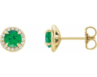 Natural Diamond & lab Created Emerald Halo Earrings In 14K White/Yellow/Rose Gold