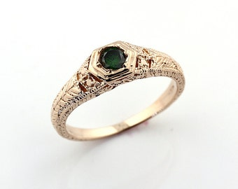 Stunning Natural 0.20cts Green Diamond Solid 14K antique Art Deco Yellow Gold Ring--- Specail