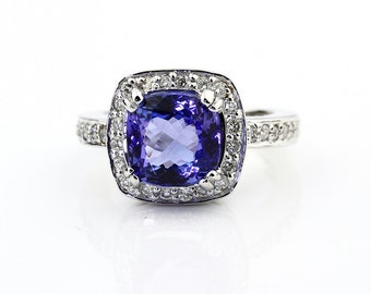 Natural Square Cushion Fancy Cut Tanzanite Solid 14K White Gold Diamond engagement Ring - Gem771