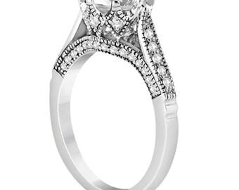 1 carat 6.5mm Round Forever One (GHI) Moissanite Edwardian Diamond Engagement Ring   ENR9782