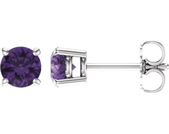 Pair 6mm Round Natural Amethyst/Baby Pink Topaz/Citrine/London Blue Topaz//Red Garnet 4 Prong Stud Earrings In White Gold ST2985  *Special *