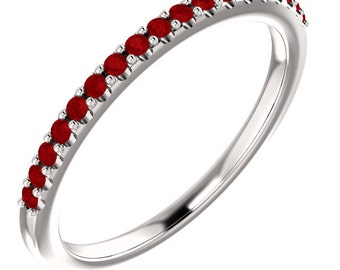 Stackable Half Eternity Ruby  Wedding Band Ring   In 14k White  ,Rose or Yellow Gold ST011848 *****On Promotion*****