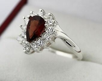 Natural Garnet  Solid 14K White Gold Diamond Ring
