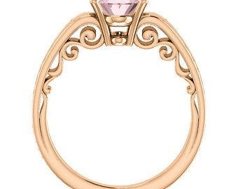 Natural AAA 10x8mm Oval  Morganite  Solid 14K Rose  Gold  Solitaire Engagement  Ring Set- ST82702 @@@Special for you@@@