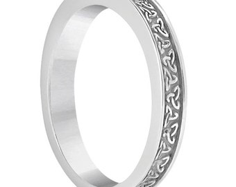 Unique Carved Irish Celtic Wedding Band In 14k White   Gold -ENS4727-1276