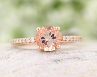 IGI USA Certified Natural Morganite Diamond Engagement Ring in 10K Rose Gold
