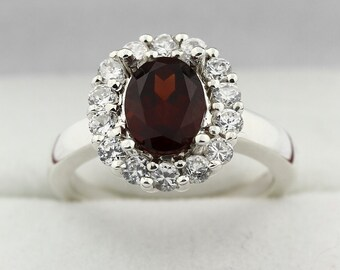 8x6mm  Natural Garnet  Solid 14K White Gold Diamond Ring
