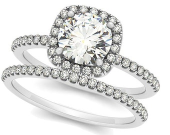 1ct  6.5mm Forever One (GHI) Moissanite Solid 14K White Gold  Halo  Engagement  Ring Set  - OV61904
