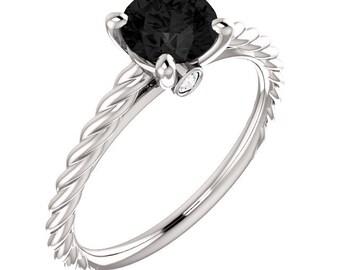 Natural 1.25 ct  Black & White  Diamond  Engagement Ring In 14K White / Yellow / Rose Gold ST233787