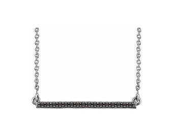 "14k White Gold 1/6 CTW Black Diamond Bar 16- 18"" Necklace with Cable Chain"