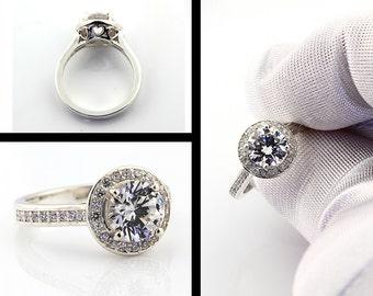 2.40  carat Natural White Topaz  14K White Gold Diamond Engagement Halo Ring - Gem807 f- Special