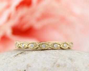 Art Deco Antique Style Diamond Milgrain 14K White/Yellow/Rose  Gold half  Eternity Wedding Band Ring Aniversary Ring Gem1161
