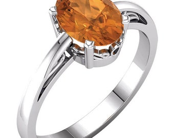14k Solid White Gold 10x8 mm Oval Natural Birthday Gemstone(Citrine ,Peridot,garnet,citrine or Amethyst  )  Scroll Ring ---Specail