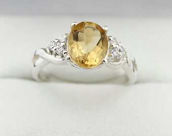 9x7MM Yellow Citrine Solid 14K White Gold Diamond Ring
