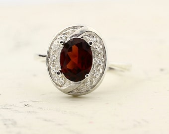 Natural Red Garnet  Solid 14K White Gold Diamond Ring