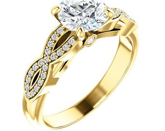Infinity Twist Diamond & Forever One (GHI) Moissanite Engagement Ring in 14K Yellow  Gold  - ST233196