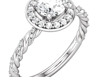 1/2 ct 5mm  Forever One (GHI) Moissanite  14K White Gold Twisted Rope Diamond Engagement  Ring   - ST233786
