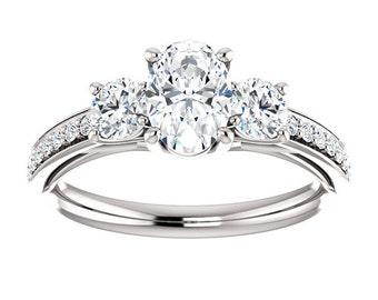 1.40ct  Forever One (GHI) Moissanite Solid 14K White Gold  3 stone Engagement  Ring Set - ST233111