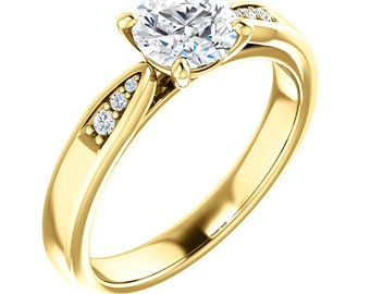 6mm Forever One (GHI) Moissanite Engagement Ring in 14K Yellow  Gold  - ST82812