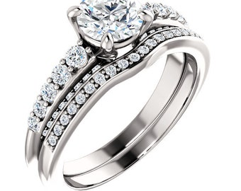 Certified center Natural White Sapphire Solid  14k white gold diamond  Engagement Ring Set ST233320