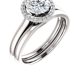 1ct  6.5mm  Forever One (GHI) Moissanite Solid 14K White Gold  Halo-Styled  Engagement  Ring Set  -ST233171****Specal****