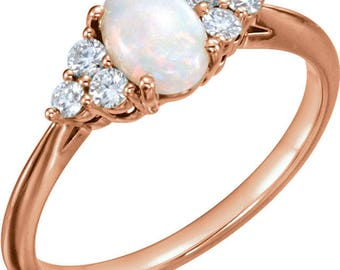 AAA Australian White Opal Diamond  Ring In 14k Rose , White or Yellow Gold 8x6mm Oval Cabochon ST82923