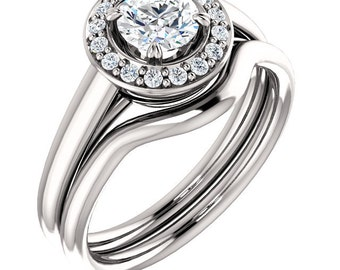 5mm  1/2ct  Forever One (GHI) Moissanite Solid 14K White Gold   Engagement  Ring Set  - ST233316