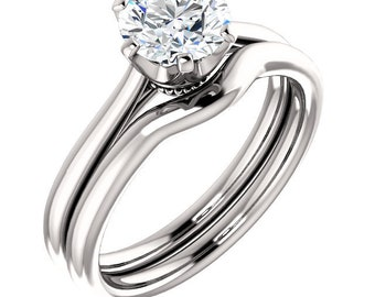 Certified  Forever One Moissanite Crown Engagement Ring Set ,Round Brilliant Cut Diamond Simulant Wedding Ring -14K White Gold-Gem1237